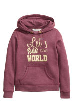 Hooded top with a motif - Burgundy - Kids | H&M CN 2