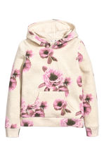 Hooded top with a motif - Light beige/Roses - Kids | H&M CN 2