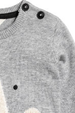 Fine-knit jumper with a motif - Grey - Kids | H&M GB 2