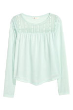 Top with lace - Light mint green - Kids | H&M CN 2
