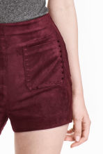 Imitation suede shorts - Burgundy - Ladies | H&M CN 3
