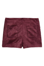 Imitation suede shorts - Burgundy - Ladies | H&M CN 2