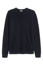 Jumper in a textured knit - Dark blue - Men | H&M CN 2