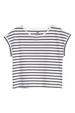 Jersey top with cap sleeves - White/Dark blue/Striped - Kids | H&M CN 2