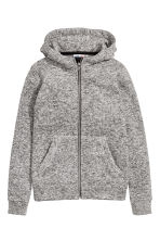 Knitted fleece jacket - Grey marl -  | H&M CN 2