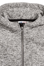 Knitted fleece jacket - Grey marl -  | H&M CN 3