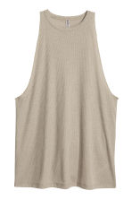 Ribbed vest top - Khaki green - Ladies | H&M CN 2