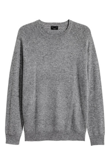 Textured-knit cashmere jumper - Grey - Men | H&M GB