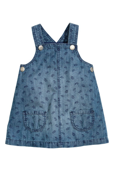 Pinafore dress - Denim blue/Patterned - Kids | H&M CN 1