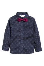 Shirt with bow tie/tie - Dark blue/Spotted - Kids | H&M CN 2