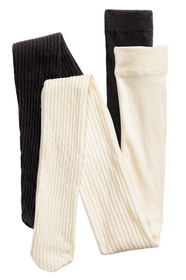 2-pack ribbed tights - Black - Kids | H&M CN