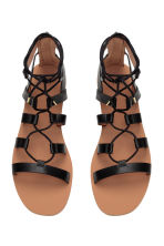 Sandals with lacing - Black - Ladies | H&M CN 3