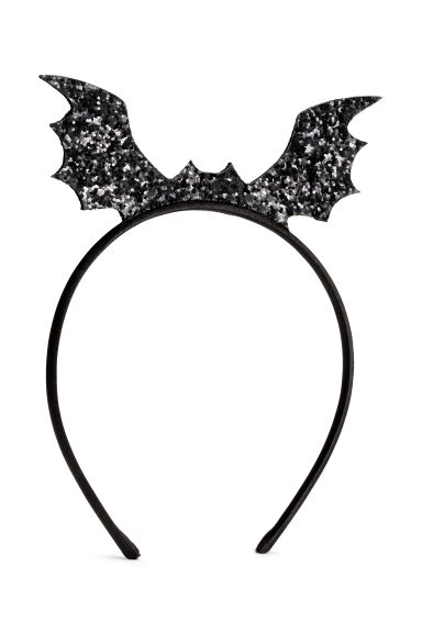 Alice band with a bat - Black/Glitter - Kids | H&M CN 1
