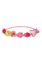 Hairband with flowers - Bright pink - Kids | H&M CN 1