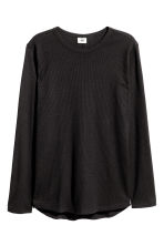 Waffled long-sleeved T-shirt - Black - Men | H&M CN 2