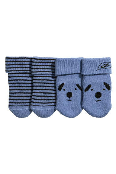2-pack socks  - Blue/Striped - Kids | H&M CN 1