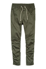 Cotton twill joggers - Dark khaki green -  | H&M 2
