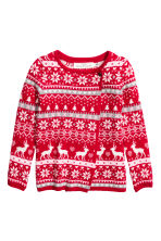 Wrapover cardigan - Red/Reindeer - Kids | H&M CN 1