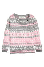 Wrapover cardigan - Pink/Grey -  | H&M CN 2