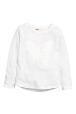 Appliquéd top - White/Butterfly - Kids | H&M CN 2