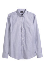 Shirt in premium cotton - Blue/White/Checked - Men | H&M CN 2