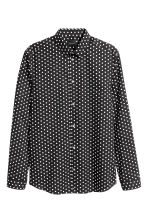 Shirt in premium cotton - Black/White/Spotted - Men | H&M CN 2