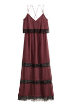 Chiffon dress with lace - Burgundy - Ladies | H&M CN 2