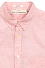 Short-sleeved cotton shirt - Light pink marl - Men | H&M CN 3