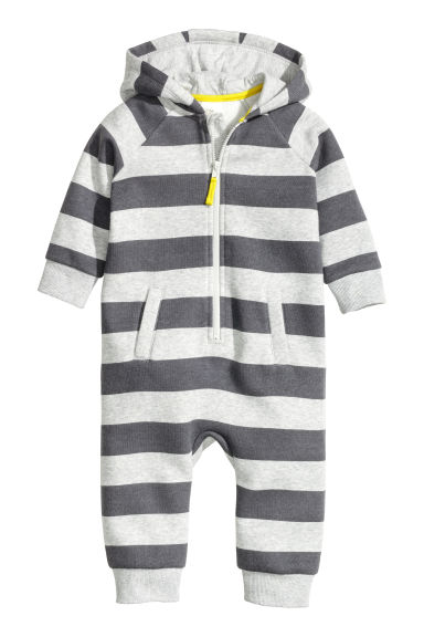 Hooded all-in-one suit - Dark grey/Striped - Kids | H&M CN 1