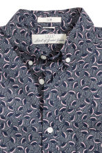 Cotton shirt - Dark blue/Patterned - Men | H&M CN 3
