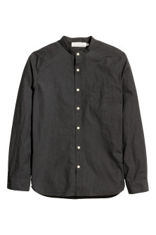 Cotton poplin grandad shirt