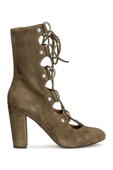 Suede boots - Khaki green - Ladies | H&M CN 1