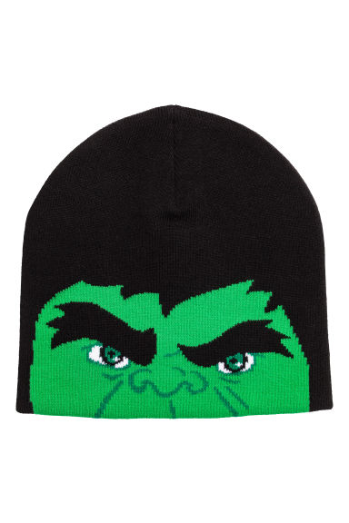 Jacquard-knit hat - Black/Hulk - Kids | H&M CN
