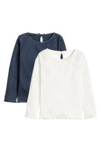 2-pack pointelle tops - Dark blue - Kids | H&M CN 2