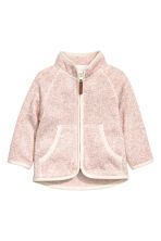 Knitted fleece jacket - Powder pink marl - Kids | H&M CN 1
