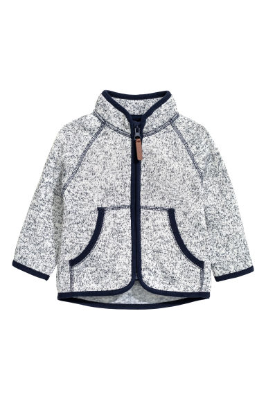 Knitted fleece jacket - Dark blue marl - Kids | H&M CN 1