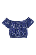 Top corto a spalle scoperte - Blu scuro/fantasia - DONNA | H&M IT 2