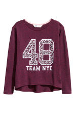 Knitted printed jumper - Burgundy marl - Kids | H&M CN 2
