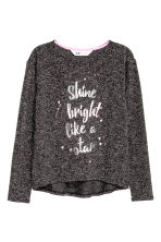Knitted printed jumper - Black marl - Kids | H&M CN 2