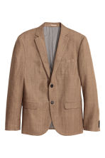 Blazer in misto lino Slim fit - Beige scuro - UOMO | H&M IT 1