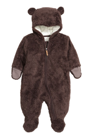 Pile all-in-one suit - Dark brown - Kids | H&M CN 1