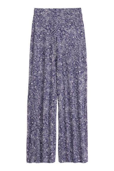 Wide trousers - Dark blue/Paisley - Ladies | H&M CN 1