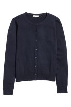 Fine-knit cotton cardigan - Dark blue - Ladies | H&M CN 2