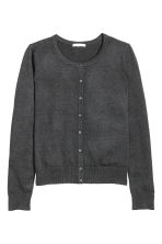 Fine-knit cotton cardigan - Dark grey marl - Ladies | H&M CN 2