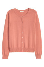 Fine-knit cotton cardigan - Dark powder pink - Ladies | H&M CA 2