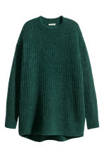 Oversized mohair-blend jumper - Dark green marl - Ladies | H&M GB 2