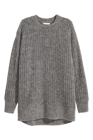 Oversized mohair-blend jumper - Dark grey marl - Ladies | H&M GB