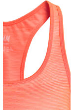 Seamless sports bra - Neon orange/Striped - Ladies | H&M CN 3