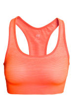 Seamless sports bra - Neon orange/Striped - Ladies | H&M CN 2