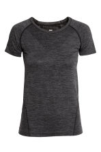Seamless outdoor top - Black marl - Ladies | H&M CN 1